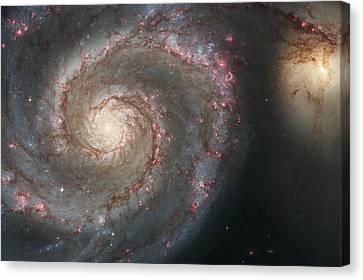 The Whirlpool Galaxy M51 And Companion Galaxy  Canvas Print by Haggios Art