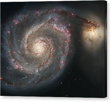 The Whirlpool Galaxy M51 And Companion Galaxy  Canvas Print by Roman