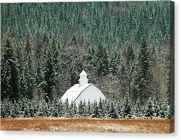 The White Barn Canvas Print by Annie Pflueger