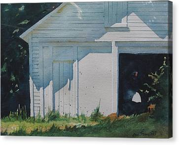 the White Boat Canvas Print by Len Stomski