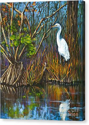 Canvas Print featuring the painting The White Heron by Dianne Parks