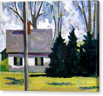 The White House  And The Dark Green Pines Canvas Print by Charlie Spear