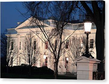 Canvas Print featuring the photograph The White House At Dusk by Cora Wandel