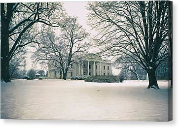 The White House In Winter Canvas Print by Mountain Dreams