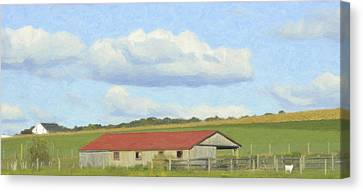 Farm Fields Canvas Print - The Whole Farm To Himself by Trish Tritz