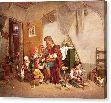 Untidy Canvas Print - The Widowed Family, 19th Century by Giuseppe Mazzolini