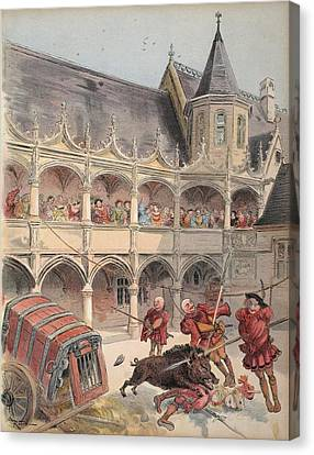 The Wild Boar Of Amboise, Illustration Canvas Print by Albert Robida