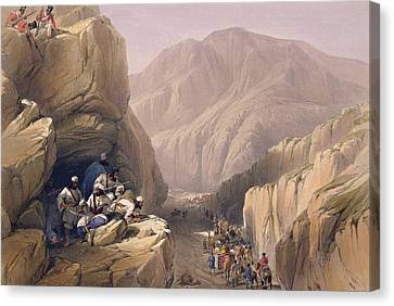 Mountain Canvas Print - The Wild Pass Of Siri-kajoor by James Atkinson