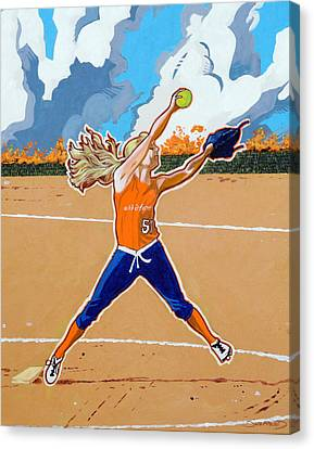 The Wildfire Pitcher Canvas Print by Darrell Sheppard