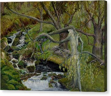 The Willow Woman Washing Her Hair Canvas Print
