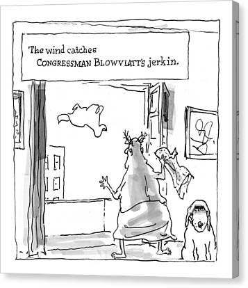 The Wind Catches Congressman Blowviatt's Jerkin Canvas Print by George Booth