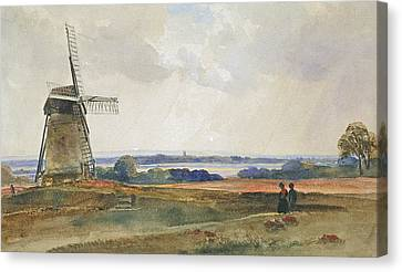 Landscape With Figure Canvas Print - The Windmill by Peter de Wint
