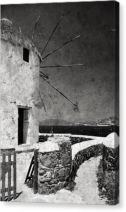 The Windmills Of Mykonos 3 Canvas Print by Laura Melis