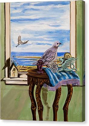 Canvas Print featuring the painting The Window Has A View by Susan Culver