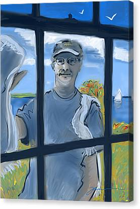 The Window Washer Canvas Print by Jean Pacheco Ravinski
