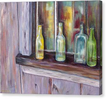 Canvas Print featuring the painting The Windowsill by Diane Daigle
