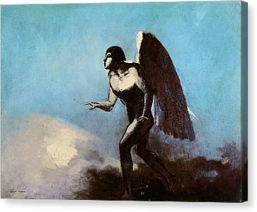 The Winged Man Or Fallen Angel Canvas Print by Odilon Redon