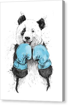 Panda Canvas Print - The Winner by Balazs Solti