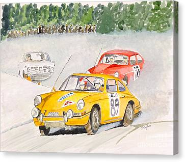 Canvas Print featuring the painting The Winter Rally by Eva Ason