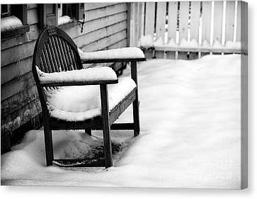 The Winter's Bench Canvas Print by John Rizzuto