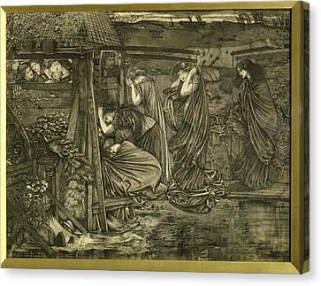 The Wise And Foolish Virgins Etching Canvas Print by Sir Edward Coley Burne-Jones