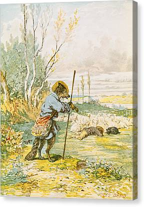 The Wolf As A Shepherd Canvas Print by Jules David