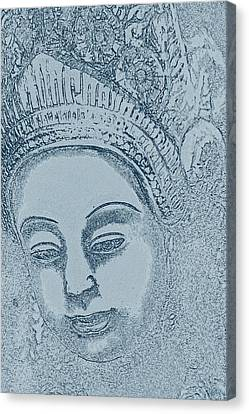 Buddha Sketch Canvas Print - The Woman In A Thai Garden by Nola Lee Kelsey