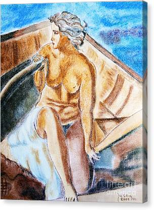 The Woman Rower Canvas Print by Jasna Dragun
