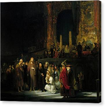 The Woman Taken In Adultery Canvas Print by Rembrandt