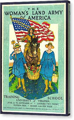 The Woman's Land Army Of America 1918 Canvas Print by Padre Art