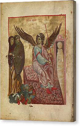 The Women At The Tomb Unknown Byzantine Empire Early 13th Canvas Print by Litz Collection