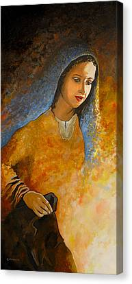 The Wonderment Of Mary - Virgin Mary Madonna Mother Of Jesus Christ Child Canvas Print by Carla Holiday