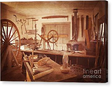The Wood Workers Shop Vintage Canvas Print