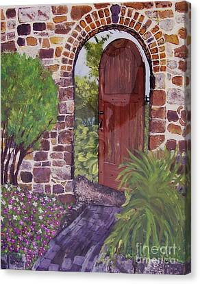 Canvas Print featuring the painting The Wooden Door by Lucia Grilletto