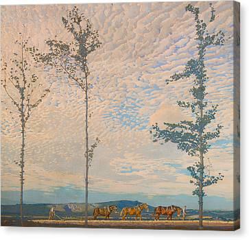 Plow Horse Canvas Print - The Wooden Plough by Edward Louis Lawrenson