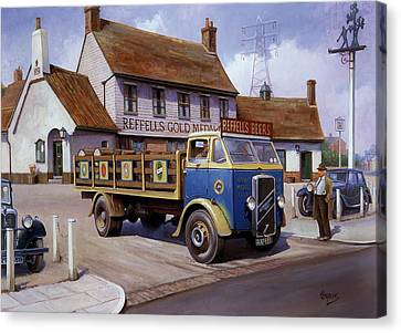The Woodman Pub. Canvas Print by Mike  Jeffries