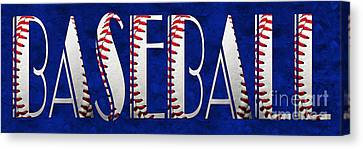 The Word Is Baseball On Blue Canvas Print by Andee Design