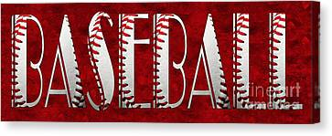 The Word Is Baseball On Red Canvas Print by Andee Design