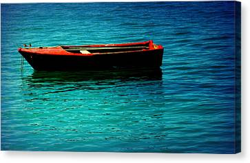 Little Red Boat Of Tranquility Canvas Print