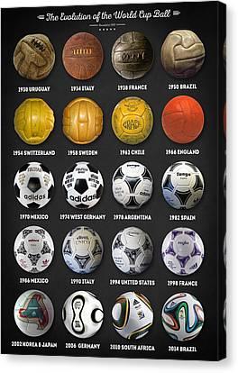 Canvas Print featuring the digital art The World Cup Balls by Taylan Apukovska