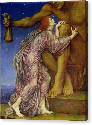 The Worship Of Mammon Canvas Print by Evelyn De Morgan
