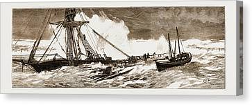The Wreck Of The Indian Chief The Ramsgate Lifeboat Canvas Print by Litz Collection