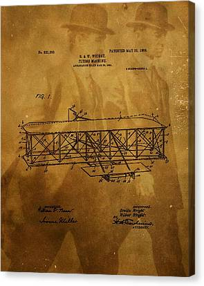 The Wright Brothers Airplane Patent Canvas Print by Dan Sproul