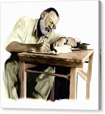 The Writer  Ernest Hemingway Canvas Print by Iconic Images Art Gallery David Pucciarelli