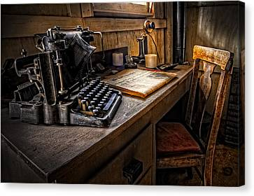 Typewriter Canvas Print - The Writer's Desk by Debra and Dave Vanderlaan