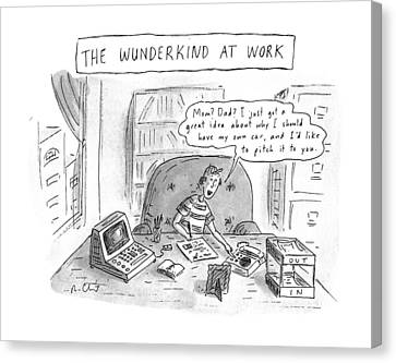 The Wunderkind At Work Canvas Print by Roz Chast