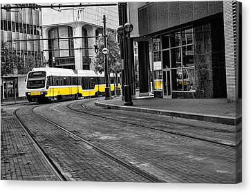 Canvas Print featuring the photograph The Yellow Train Of Dallas by Kathy Churchman