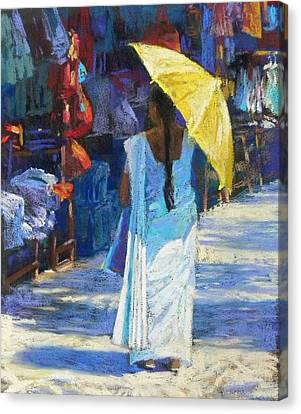 The Yellow Umbrella Canvas Print by Jackie Simmonds