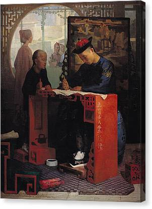 Educating Canvas Print - The Young Chinese Scribe Oil On Canvas by Theodore Delamarre