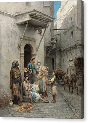 The Young Flower Seller Canvas Print by Pierre Outin